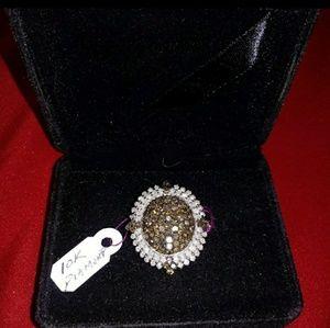 Jewelry - 10k white gold+diamond ring (100% natural diamond)